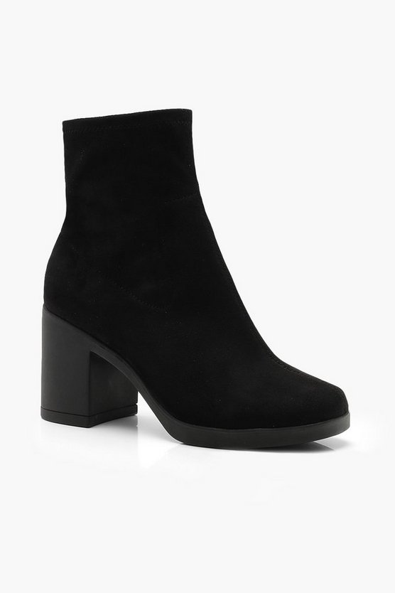 Womens Black Block Heel Sock Boots