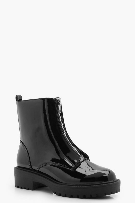 Womens Black Zip Front Biker Boots