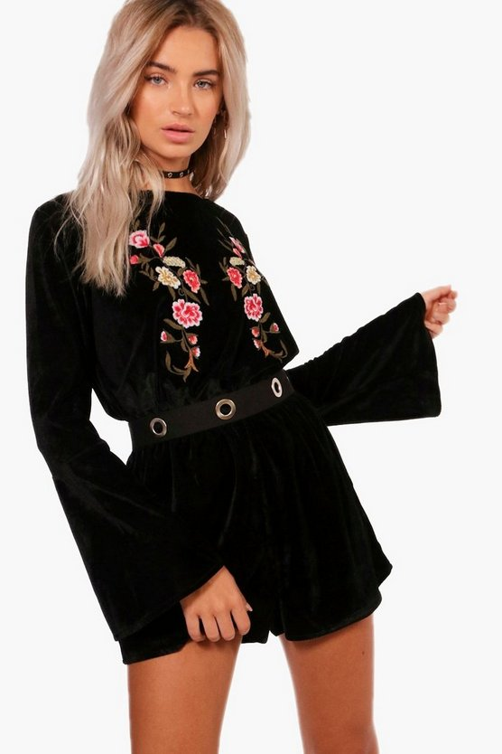 Velvet Embroidered Playsuit