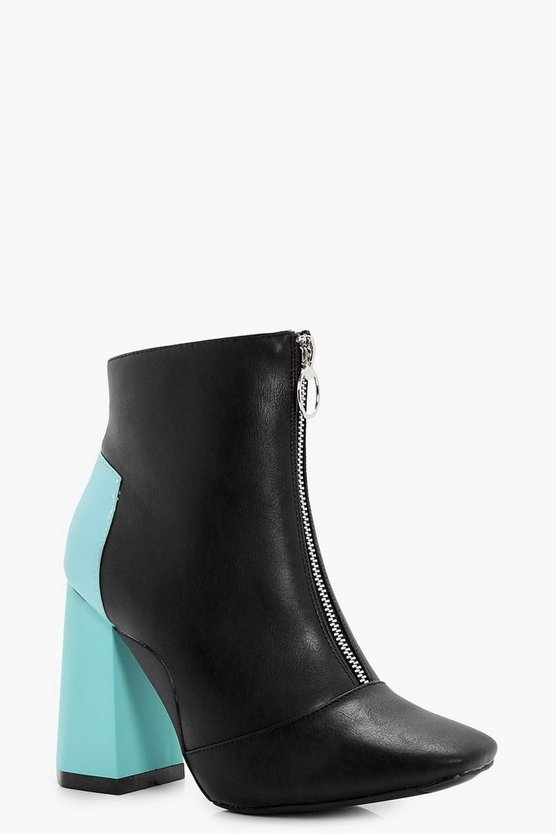 Contrast Hexagon Heel Zip Front Boot