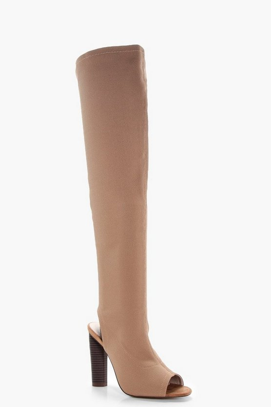 Libby Peeptoe Sock Thigh High Boots