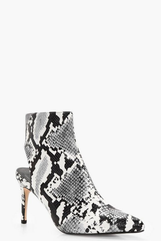Maisy Snake Print Open Back Pointed Shoe Boot