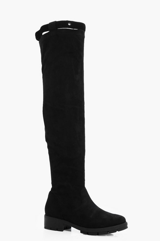 Stretch Band Cleated Flat Over The Knee Boots