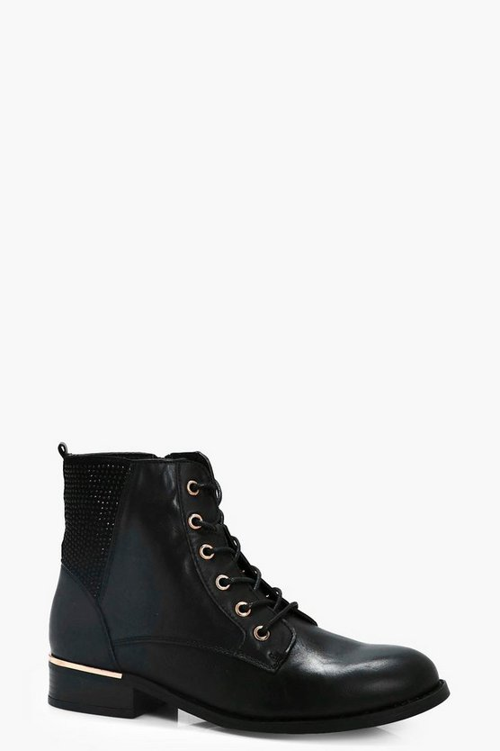 Zoe Diamante Trim Lace Up Ankle Boots