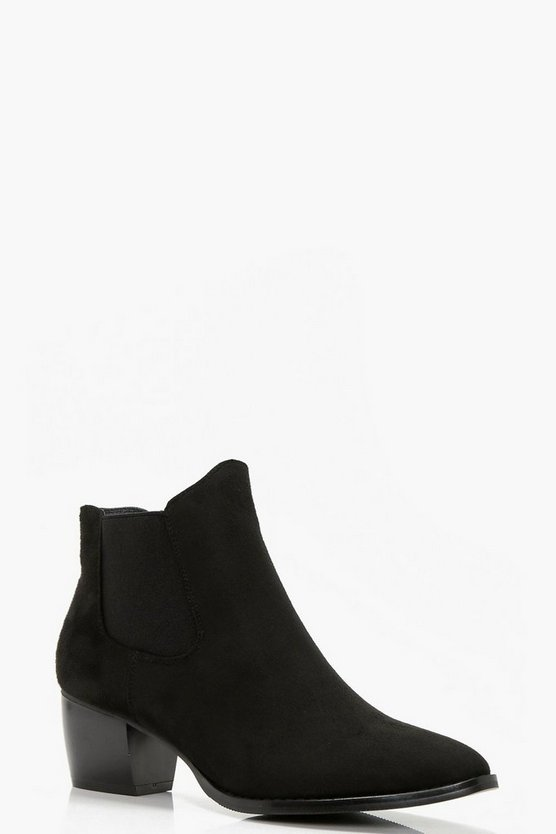 Womens Black Mid Heel Pull On Chelsea Boots