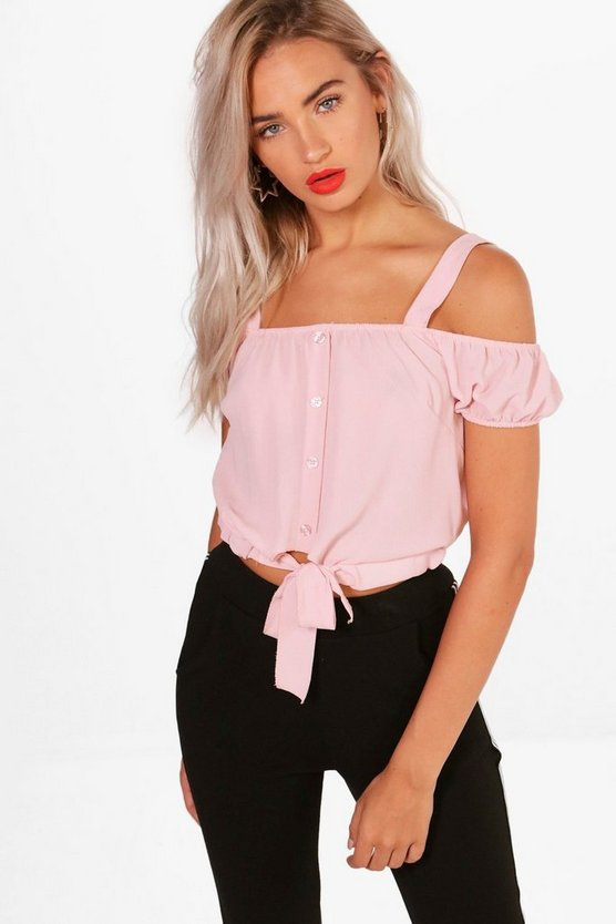 Cold Shoulder Tie Crop