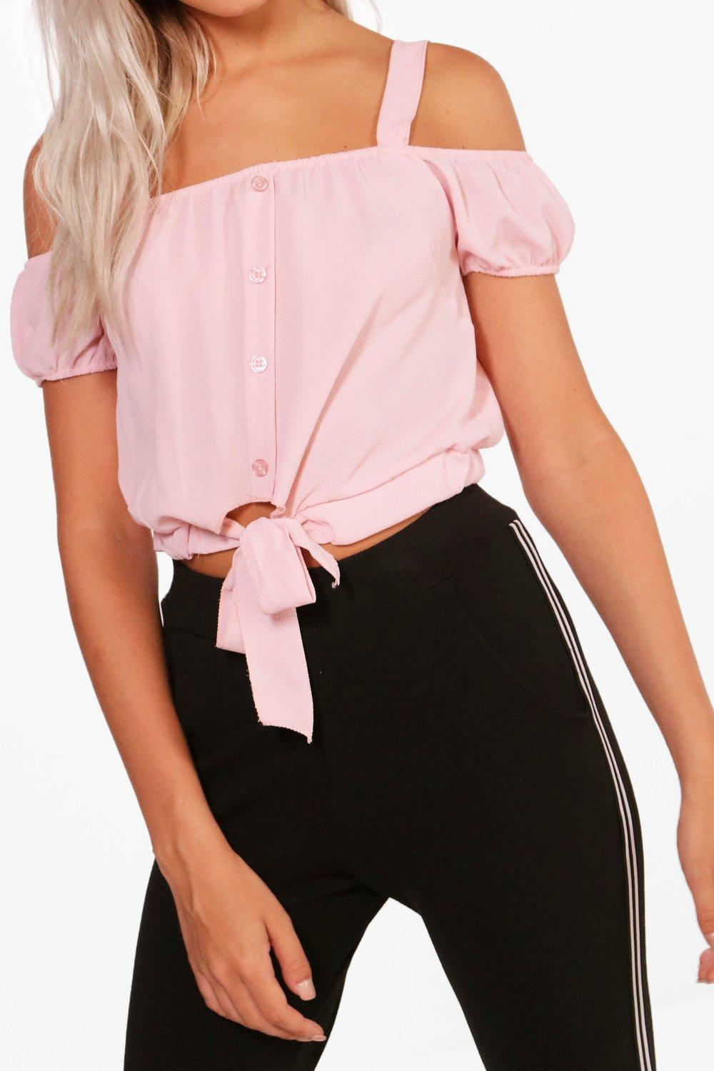 Boohoo-erin-top-court-noue-a-epaules-denudees-pour-Femme