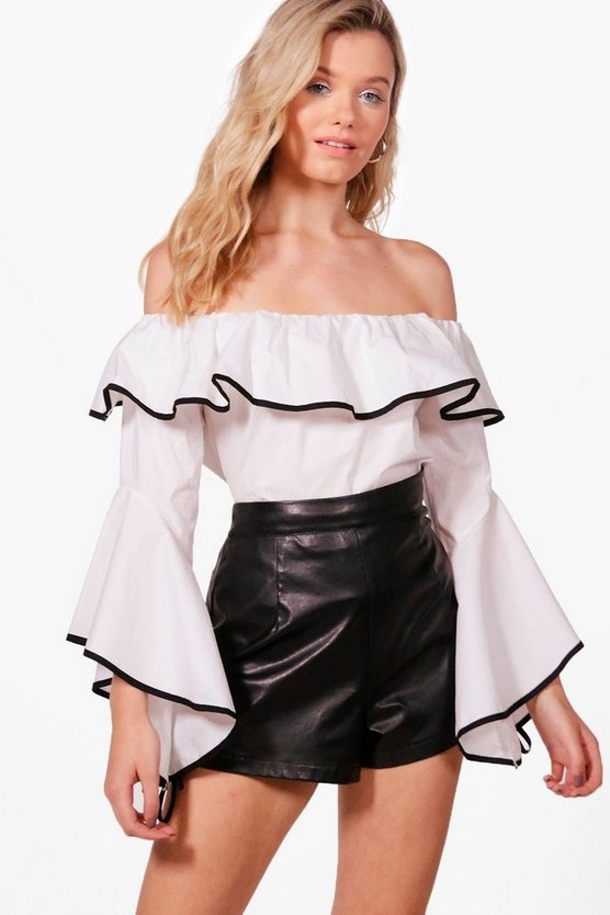 Womens Freya Woven Contrast Binding Off The Shoulder Top