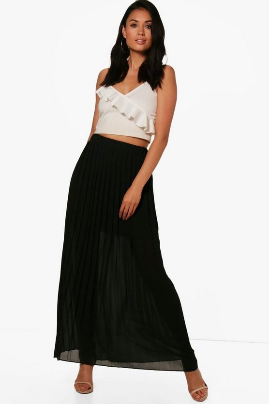 Ruby Pleated Chiffon Maxi Skirt