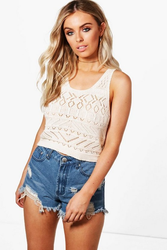 Elizabeth Crochet Knit Crop Top