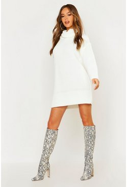 Womens Cream Roll Neck Sweater Dress