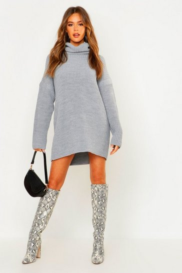 Womens Grey Roll Neck Jumper Dress