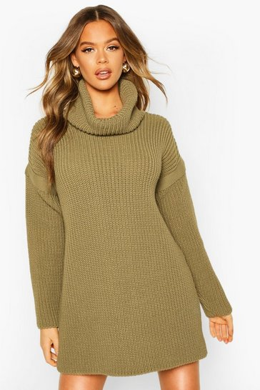 Womens Olive Roll Neck Jumper Dress