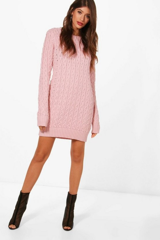 Womens Blush Full Cable Knit Sweater Dress