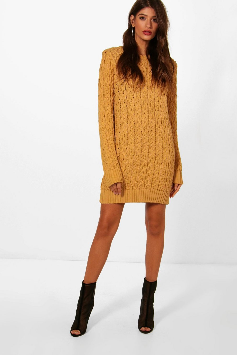 Robe pull en tricot torsadé plein   Boohoo 70ddd834fcb3