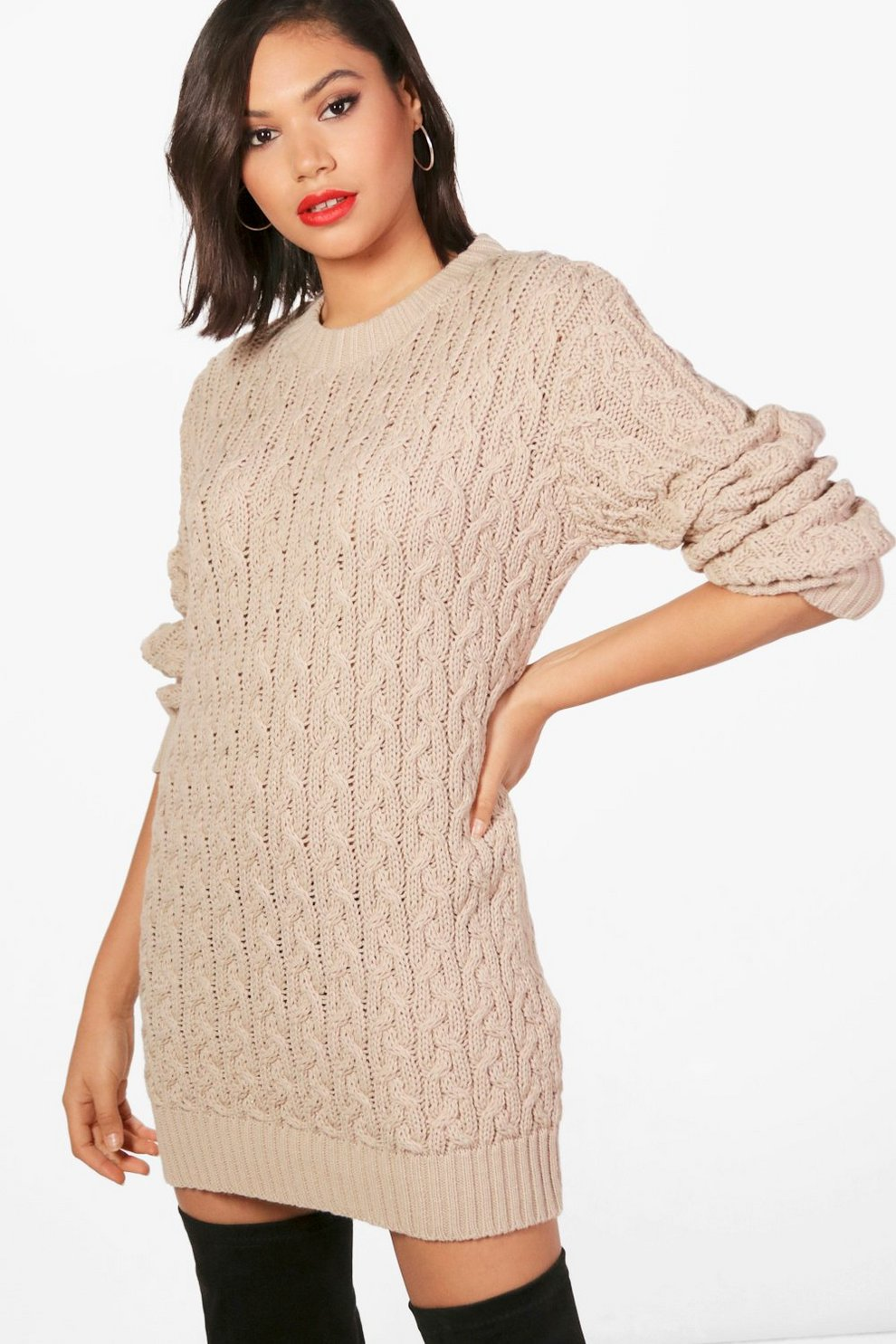 Full Cable Knit Jumper Dress Boohoo