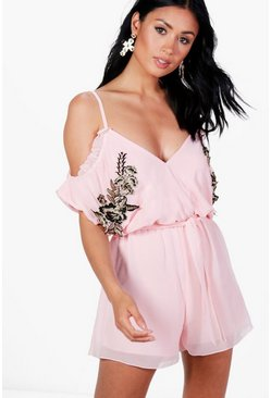 Womens Pink Alana Embroidered Ruffle Playsuit