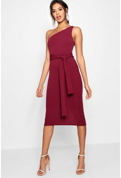 One Shoulder Belted Midi Dress, Berry, Donna