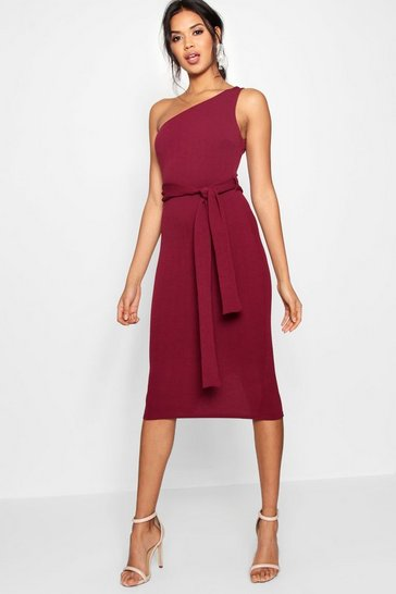 Womens Berry One Shoulder Belted Midi Dress