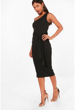 One Shoulder Belted Midi Dress, Black, Donna