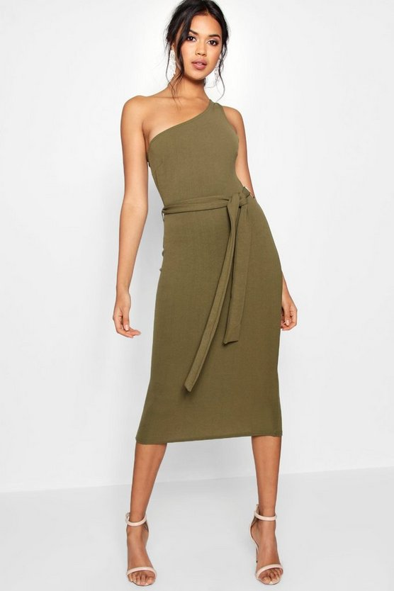 Womens Khaki One Shoulder Belted Midi Dress