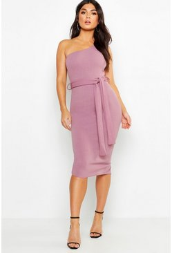 Womens Mauve One Shoulder Belted Midi Dress