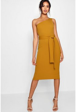 One Shoulder Belted Midi Dress, Mustard