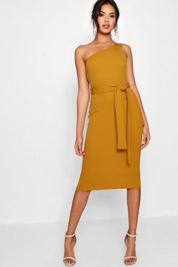 Womens Mustard One Shoulder Belted Midi Dress