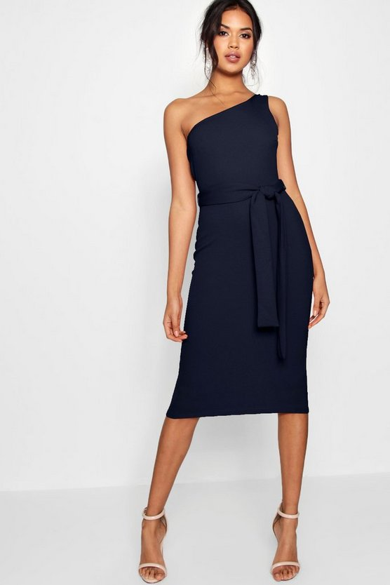 Navy One Shoulder Belted Midi Dress