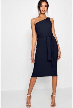 Womens Navy One Shoulder Belted Midi Dress