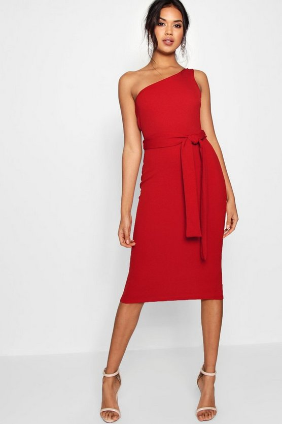 Womens Red One Shoulder Belted Midi Dress