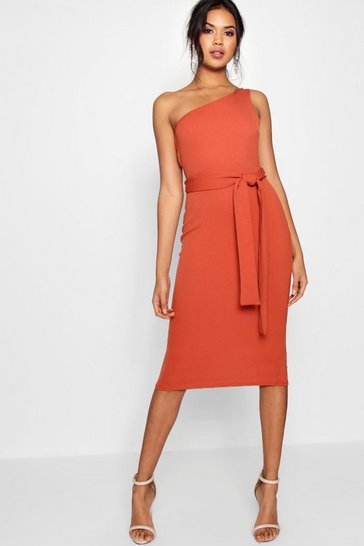 Womens Rust One Shoulder Belted Midi Dress