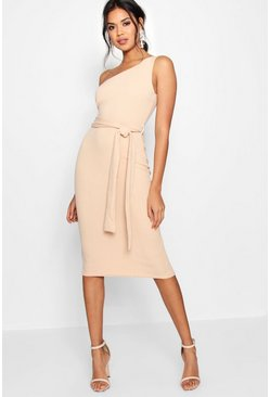 Stone One Shoulder Belted Midi Dress