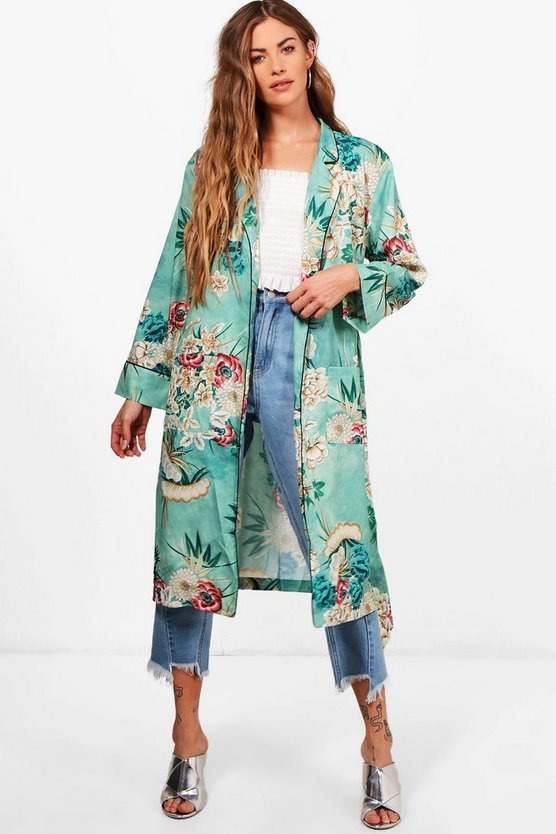 Womens Green Floral Belted Kimono