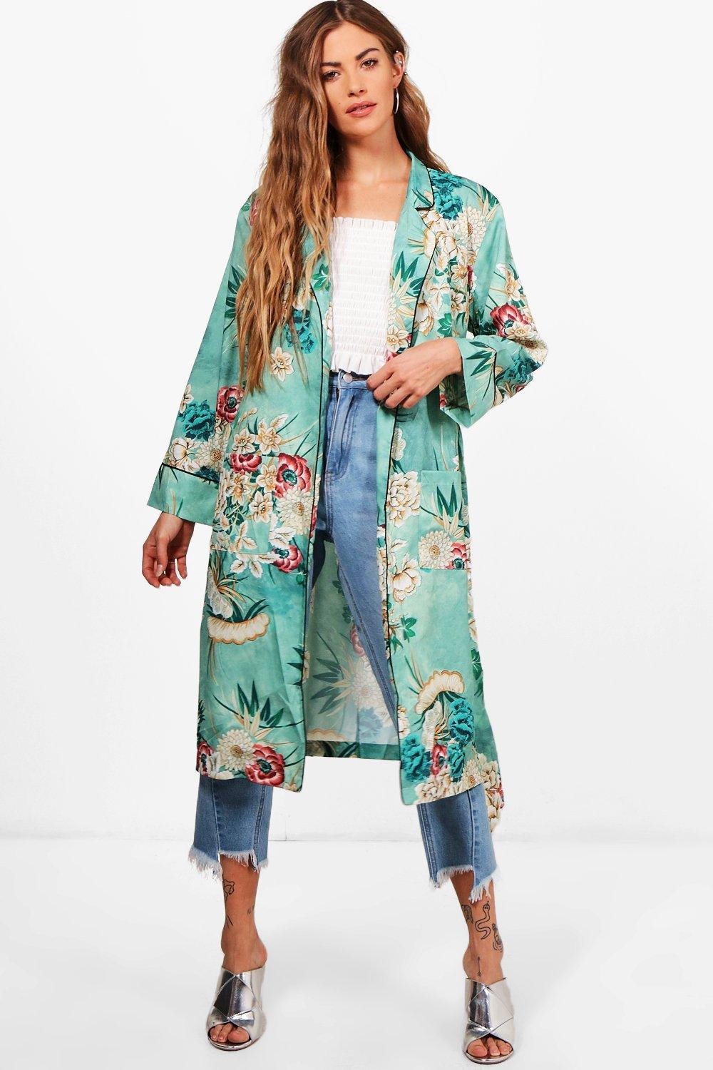 floral belted kimono boohoo