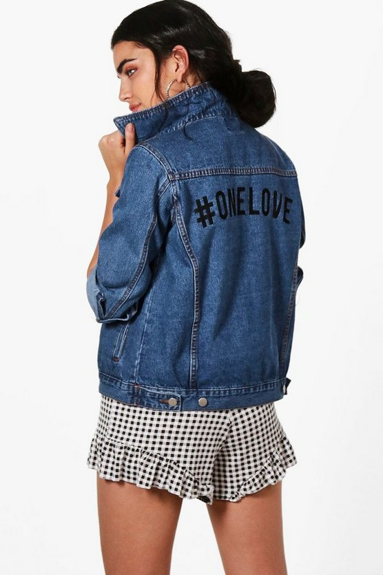Womens Mid blue Charity One Love Oversized Denim Jacket