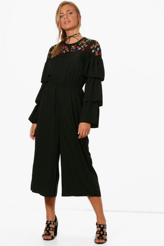 Ruffle Embroidered Culotte Jumpsuit
