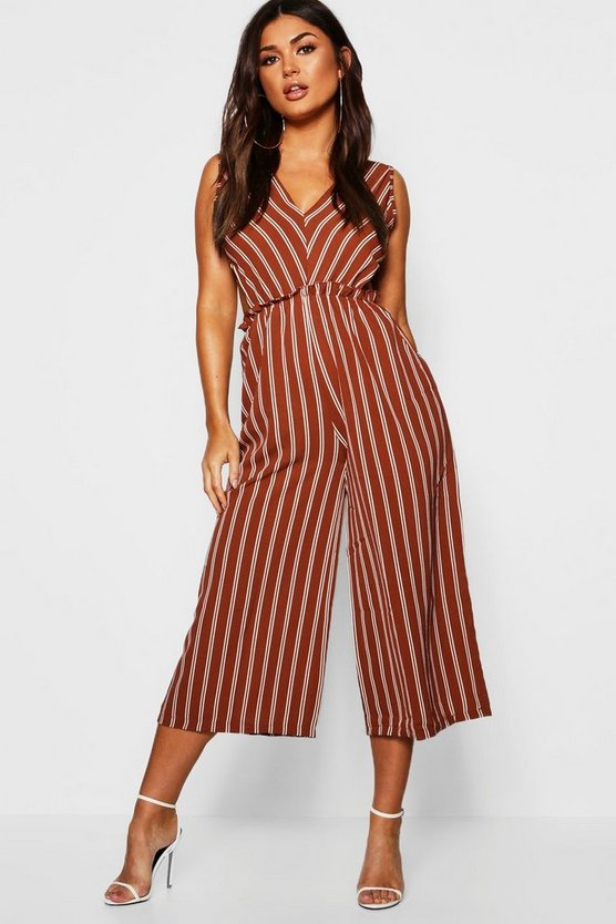 Stripe V Cut Out Jumpsuit