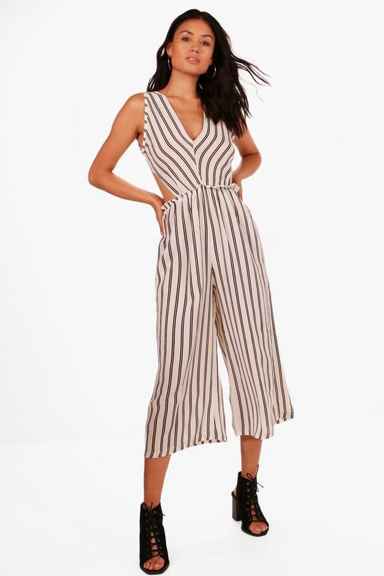 Womens Stripe V Cut Out Jumpsuit