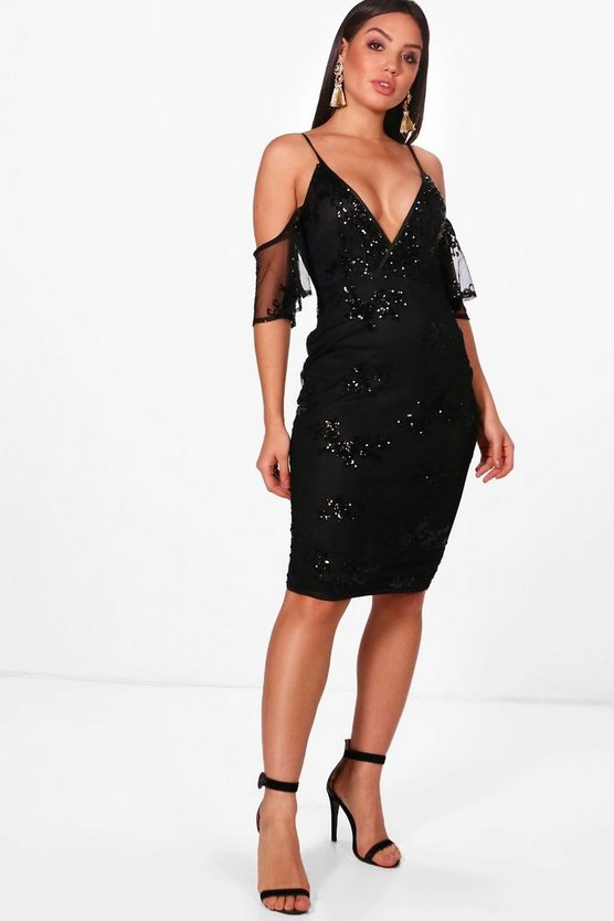 Boutique Sequin & Mesh Midi Dress