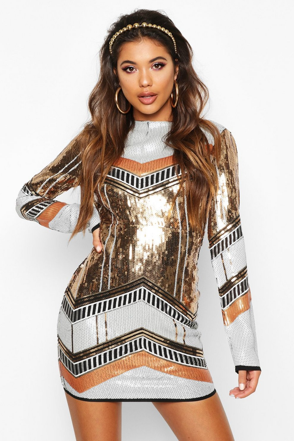2d03fce5 Womens Gold Boutique Sequin Bodycon Dress. Hover to zoom