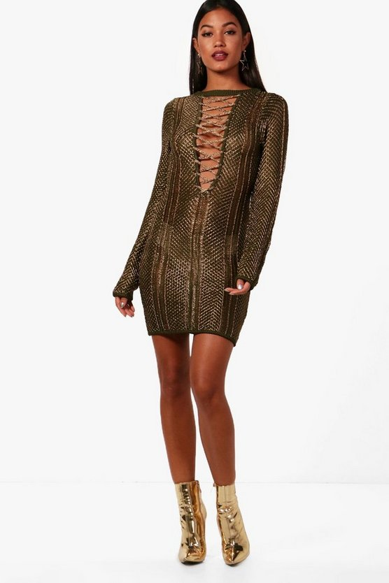 Womens Khaki Boutique Metallic Knit Bodycon Dress