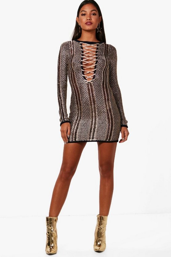 Boutique Metallic Knit Bodycon Dress