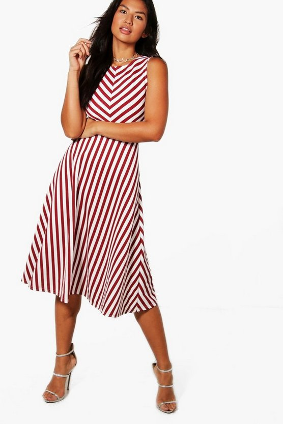 Stripe Frill Skirt Midi Skater Dress