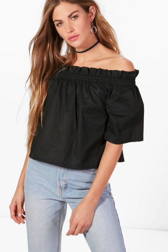 Woven Big Sleeve Off The Shoulder Top