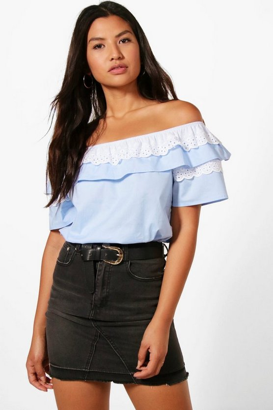 Womens Blue Poppy Woven Off The Shoulder Top