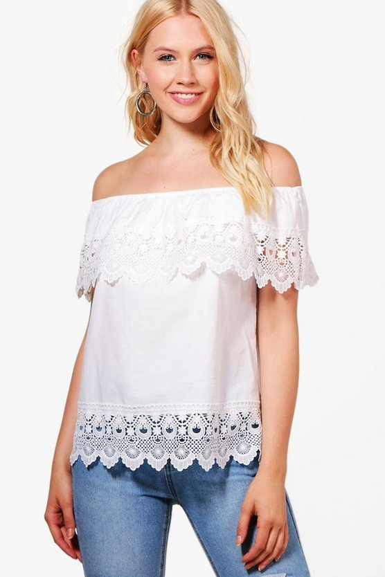 Molly Off The Shoulder Lace Trim Top