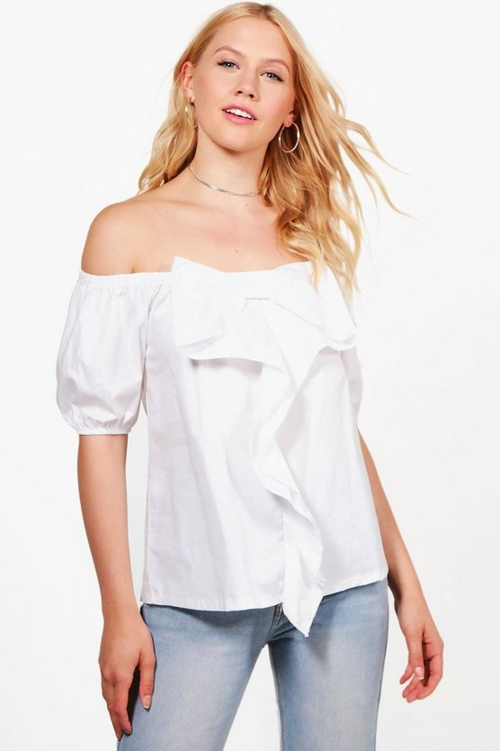 Ellie Woven Long Sleeve Ruffle Off The Shoulder Top
