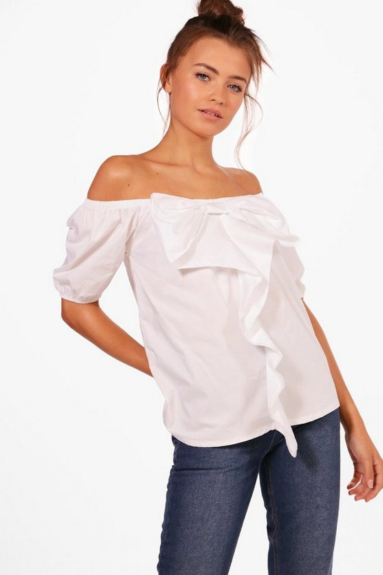 Holly Short Sleeved Bow Ruffle Off The Shoulder Top