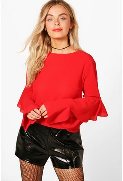Womens Red Charlie Ruffle Sleeve Woven Top